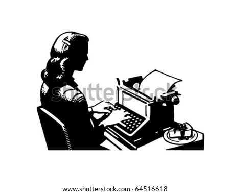 Retro Lady Typist - Clipart Illustration - stock vector