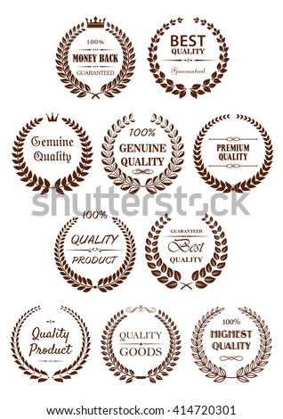 Retro laurel wreaths brown badges for retail promotion design with premium quality guaranteed captions, adorned by crowns, stars and vignette decorative elements - stock vector