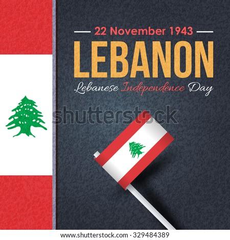 Retro Lebanese Republic National Celebration Card, Grunge Background, Badges Vector Emblem - stock vector