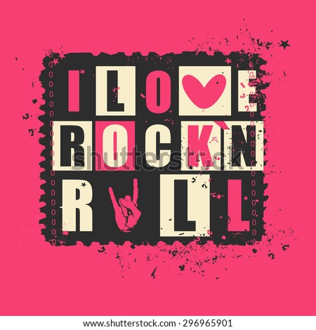 "Retro letters ""I love Rock`n Rock"" on grunge postage stamp. vector illustration"