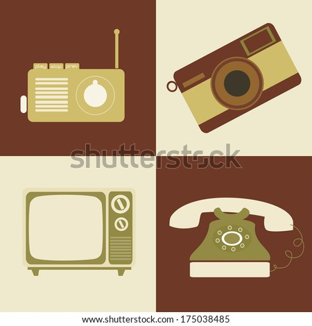 retro lifestyle over colors background vector illustration - stock vector