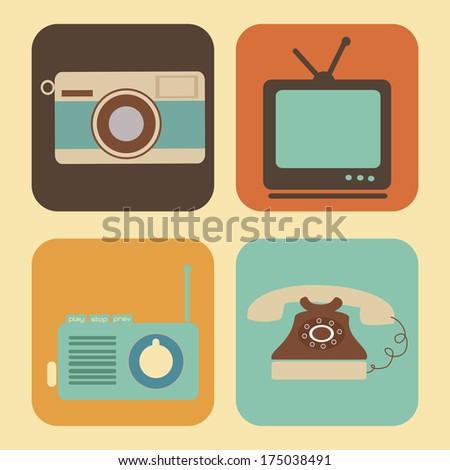 retro lifestyle over cream background vector illustration - stock vector