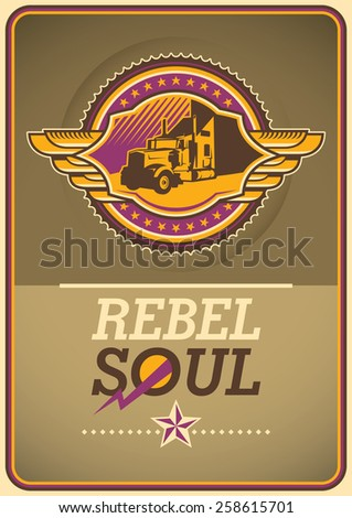 Retro lifestyle poster with coat of arms. Vector illustration.  - stock vector