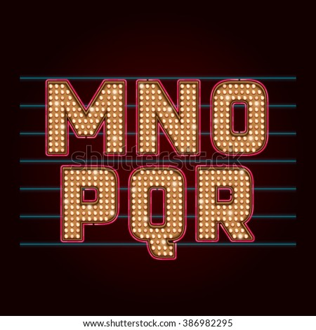 Retro Light Bulb Font. Vector realistic lamps alphabet from M to R - stock vector