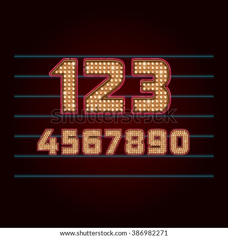 Retro Light Bulb Font. Vector realistic lamps numbers from 0 to 9 - stock vector