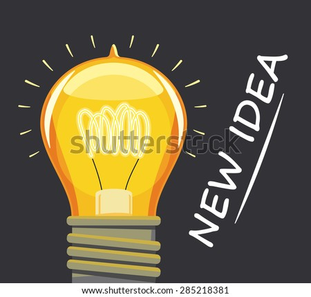 Retro lighted lamp on the dark background. New idea. Creating a Business Plan. Vector simple illustration.