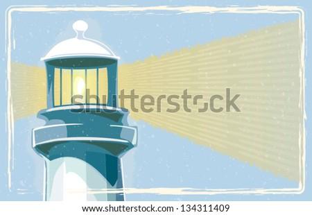 Retro lighthouse with border vector - stock vector