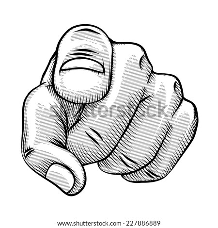Retro line drawing of a pointing finger and human hand pointing directly at the viewer  vector illustration - stock vector