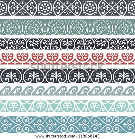 Retro lines set - stock vector