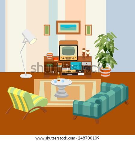 Livingroom Cartoon | Some Kid Bedroom Illustration Cartoon Children Stock Vector