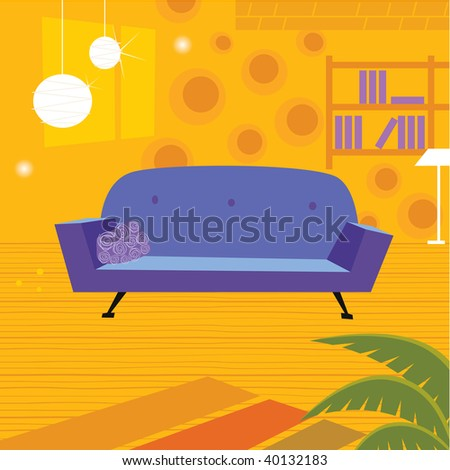 Retro living room in retro style. Old retro styled interior with sofa and bookcase. Vector Illustration. - stock vector