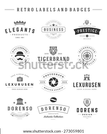 Retro Logotypes set vector vintage graphics design elements for logos, identity, labels and badges. - stock vector
