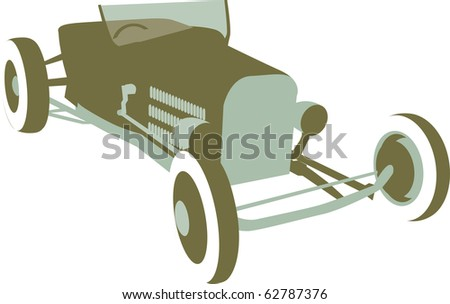 Retro looking illustration of a hot rod sitting at an angle.