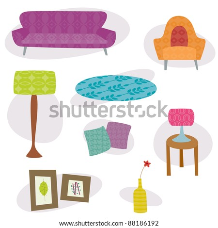 Retro lounge furniture - A collection of lounge furniture images in a retro style with patterns. - stock vector