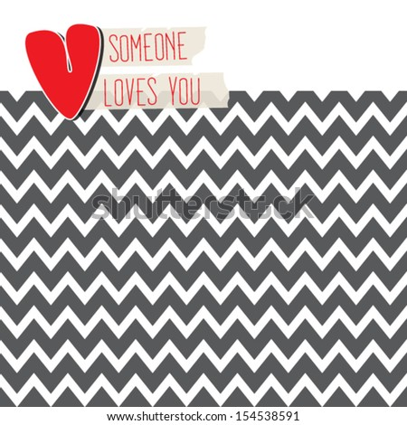Retro love card with heart on modern chevron background - stock vector