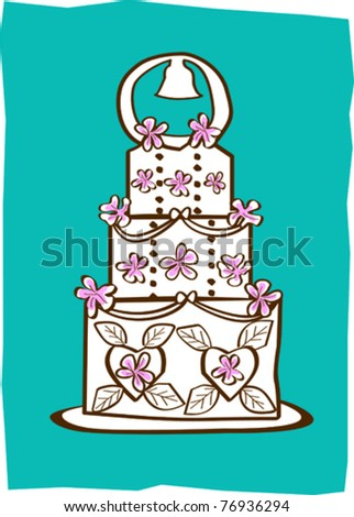 Retro Love & Weddings Tiered Cake Vector Illustration - stock vector