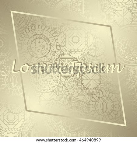 Retro luxury background. Invitation card with round ornaments and place for text. Silver wallpaper