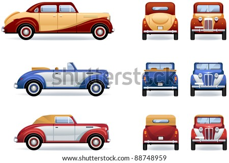 Retro luxury cars (1930-40th). Set of the icons in vector. The shadows are in the separate layer.