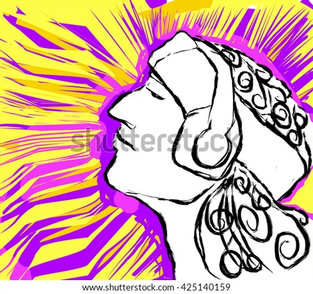 retro man face portrait with Headphones vector illustration.music.music man.music fun.music radio. Music vector.music.music abstract.music.music color.music ad.music draw.music headphone.music asia.  - stock vector