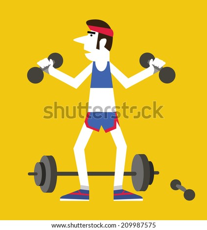 Retro man holding dumbbells and squats ,Exercising healthy concept. flat vector illustration - stock vector