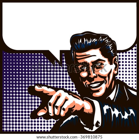 Retro man smiling talking with pointing finger and comic book syle speech bubble, pop art vector illustration