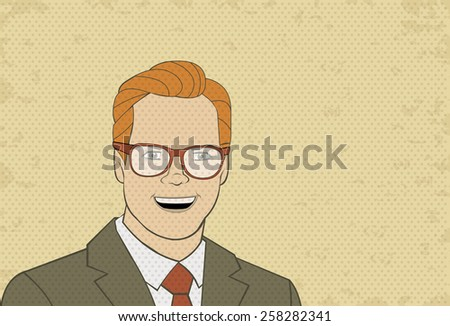 Retro man wearing glasses. Vintage art.  - stock vector