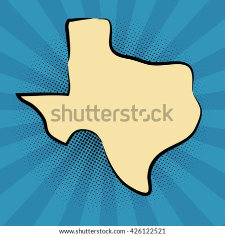 retro map of Texas. stylized map. drawn Texas. pop art concept.