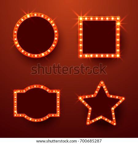 Retro Marquee Frames Light Bulbs Space Stock Vector 700685287 ...