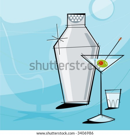 Retro Martini Vignette with shaker and shot glass. Each item is grouped so you can use them independently from the background. Layered file for easy edit--no transparencies or strokes! - stock vector