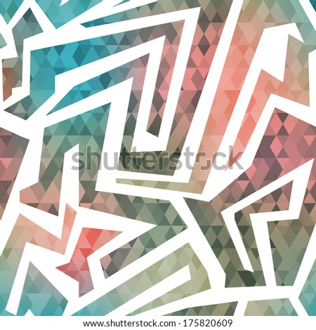 retro maze seamless pattern with triangle background - stock vector
