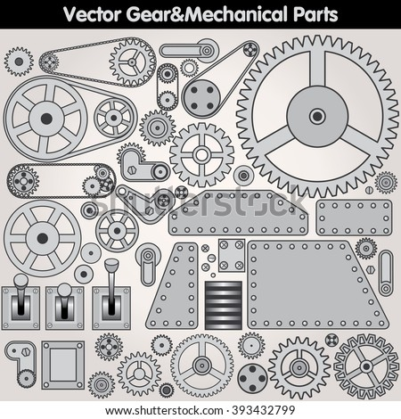 Retro Mechanical Parts - Gears, Levers, Plates, Sprockets, Arms. Vector Design Elements - stock vector