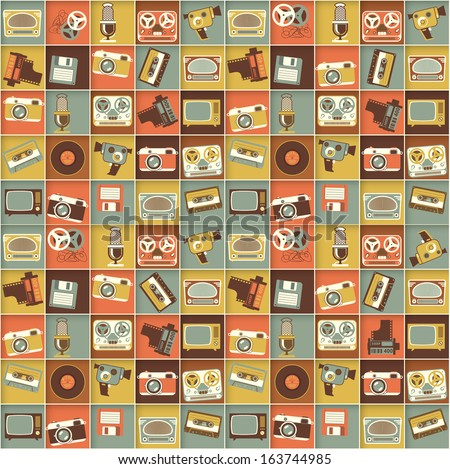Retro media hipster style pattern. Vector seamless background. - stock vector