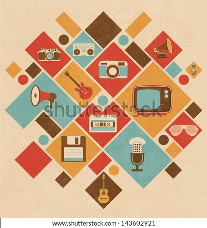 Retro Media Icons In Geometric Layout - stock vector