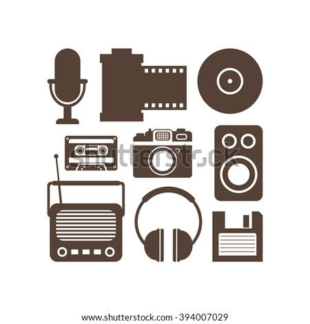 Retro Media technology, flat icons set, vector illustration of photo camera, cassette, radio tape recorder, microphone, diskette, headphones, film strip - stock vector