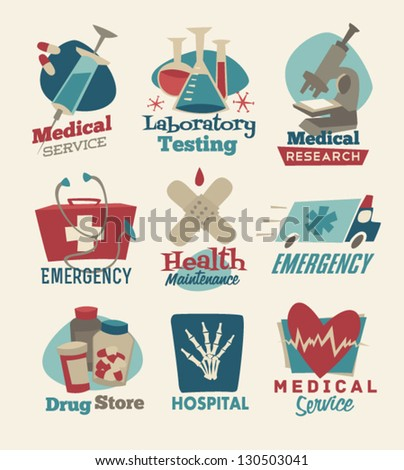 Retro medical emblems - stock vector