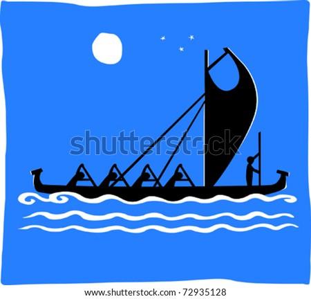 Retro Men Paddling Tropical Warrior Outrigger Canoe Racing at Night Vector Illustration - stock vector