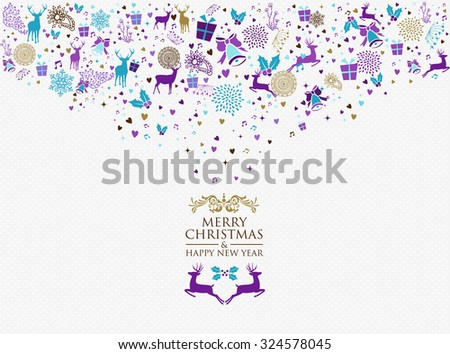 Retro Merry Christmas and Happy New Year splash colors vintage elements postcard background. Ideal for holiday greeting card or party invitation. EPS10 vector - stock vector