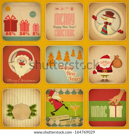 Retro Merry Christmas and New Years Card with Santa Claus and Snowman. Christmas Set. Vector illustration. - stock vector