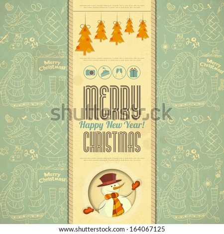 Retro Merry Christmas Card with Snowman in Vintage Style. Vector illustration.
