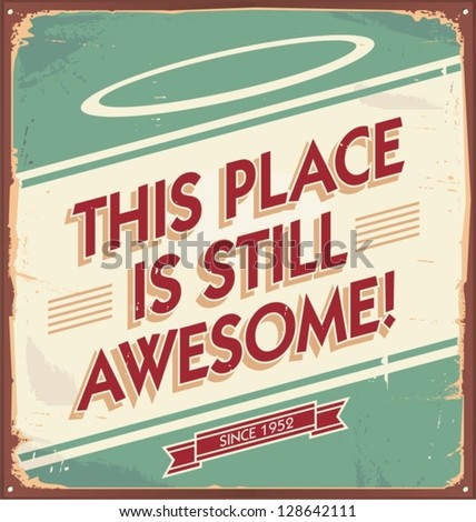 Retro metal sign for restaurant, bar, cafe, pub, coffee shop or any other shop. Vintage vector background with rusty texture. Old fashioned promotional poster for home interior or work place. - stock vector