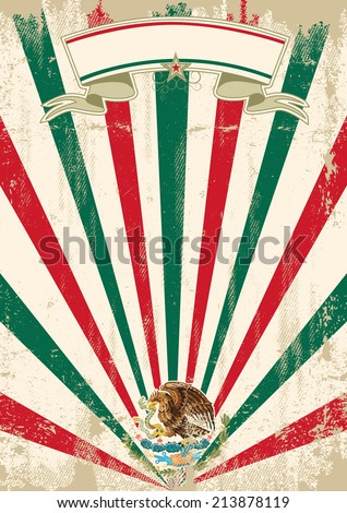 retro mexican sunbeams letter. A vintage mexican poster with sunbeams for your advertising - stock vector