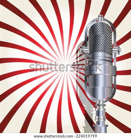 Retro microphone background - stock vector