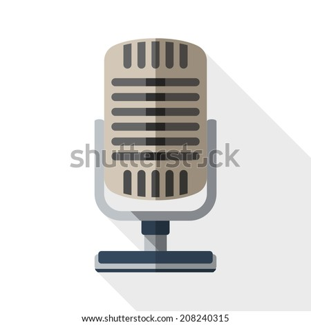 Retro microphone flat icon with long shadow on white background
