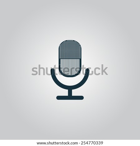 Retro microphone. Flat web icon, sign or button isolated on grey background. Collection modern trend concept design style vector illustration symbol. EPS10 - stock vector