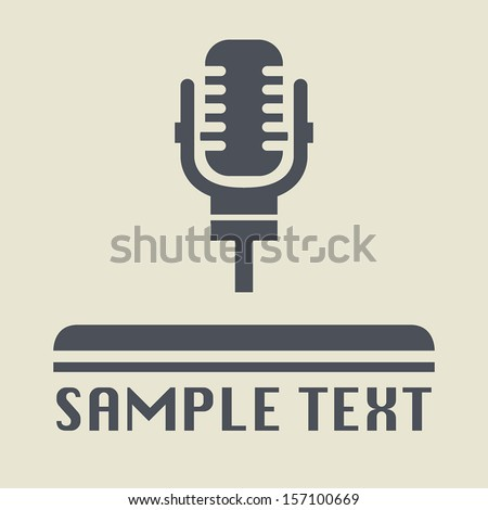 Retro microphone icon or sign, vector illustration - stock vector