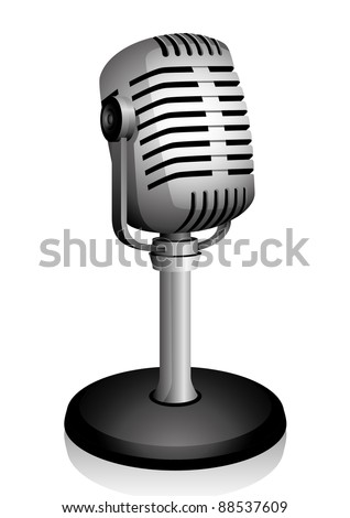 Retro microphone isolated on white. Vector illustration. - stock vector