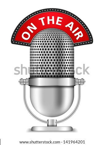 Retro microphone on the air, vector eps10 illustration - stock vector