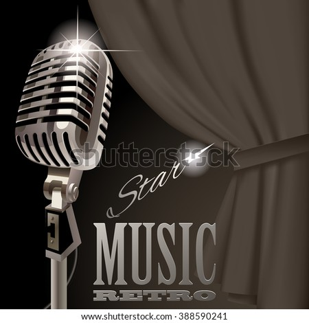 Retro microphone on the curtain background in dark vintage colors. Retro music cover and poster concept design. Vector illustration - stock vector
