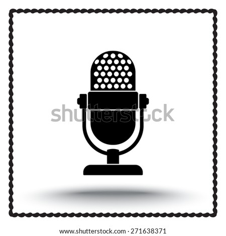 Retro microphone sign icon, vector illustration. Flat design style - stock vector