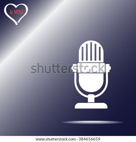 Retro microphone sign icon, vector illustration. Flat design style